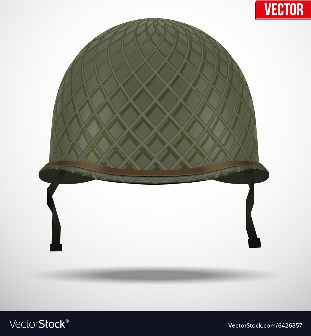 Military us helmet m1 wwii with net vector