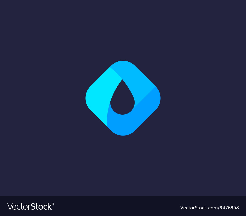 Abstract water aqua oil drop logo design vector