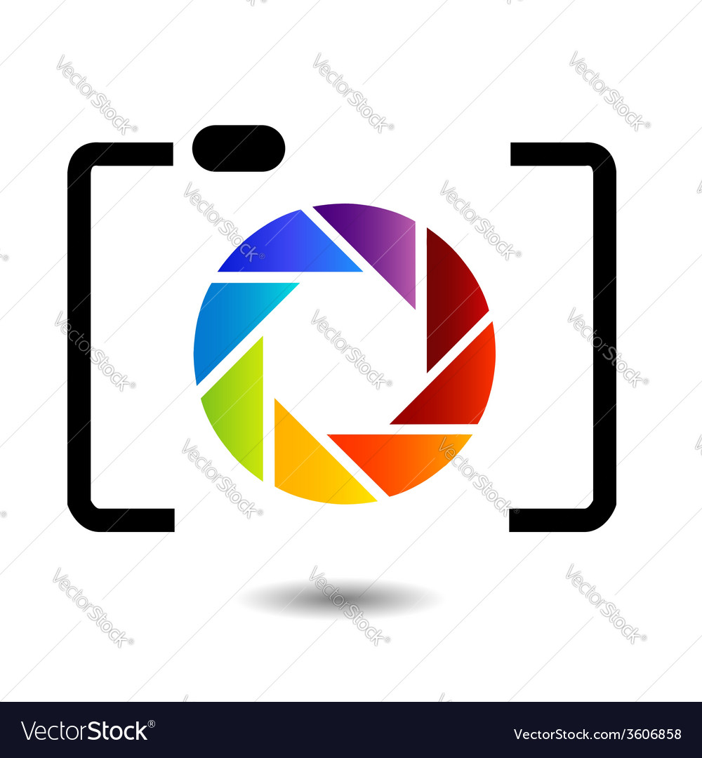 Camera with colorful aperture photography logo vector