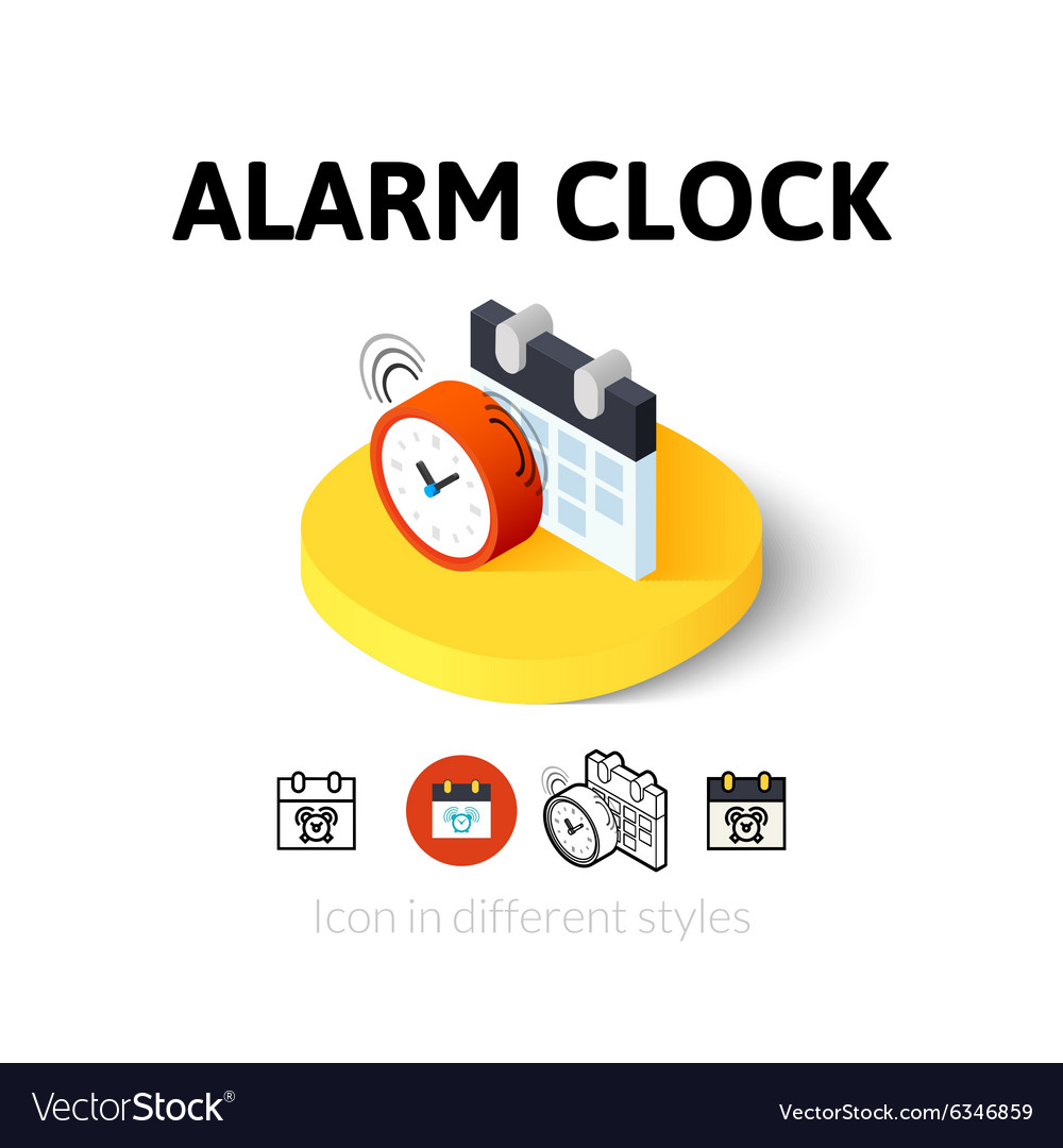 Alarm clock icon in different style vector