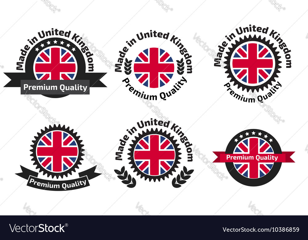 Made in uk badge set with united kingdom flag vector