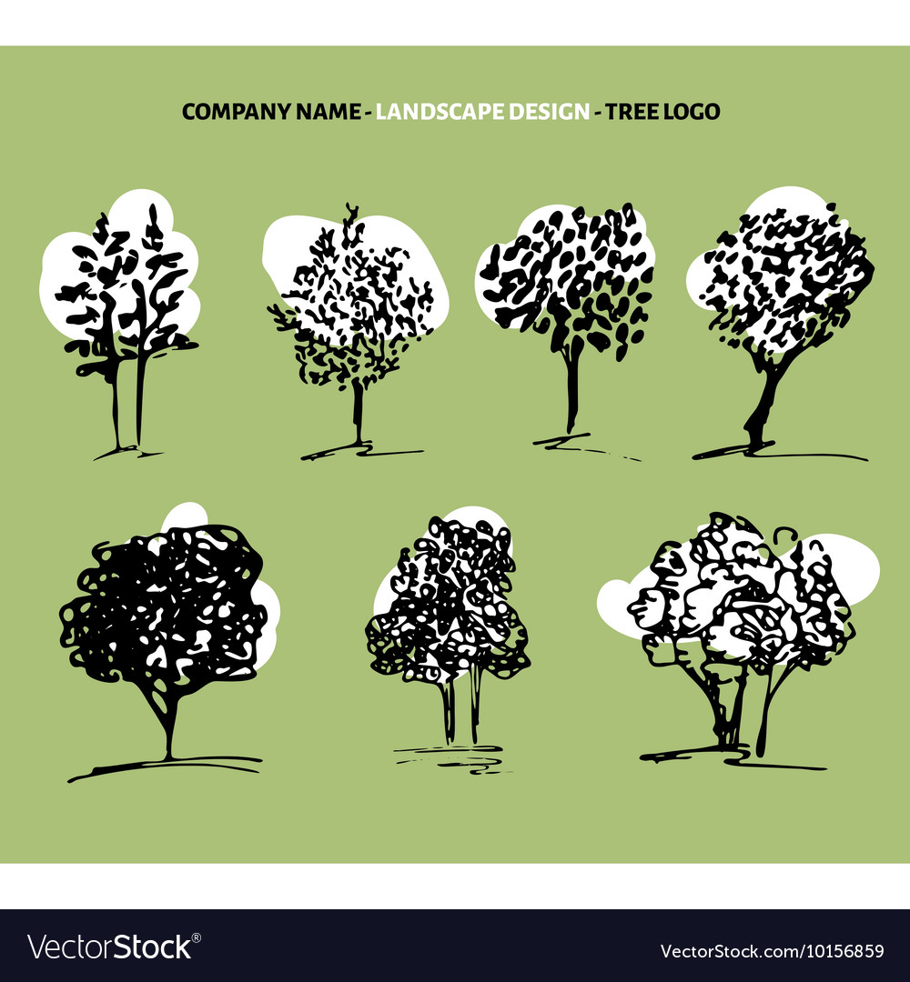 Tree set and logo vector