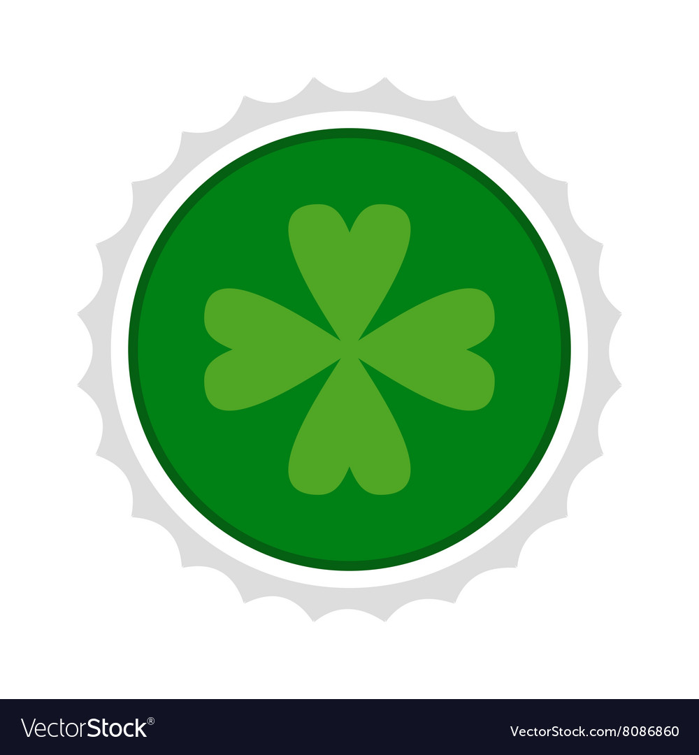 Rosette with four leaf clover icon vector