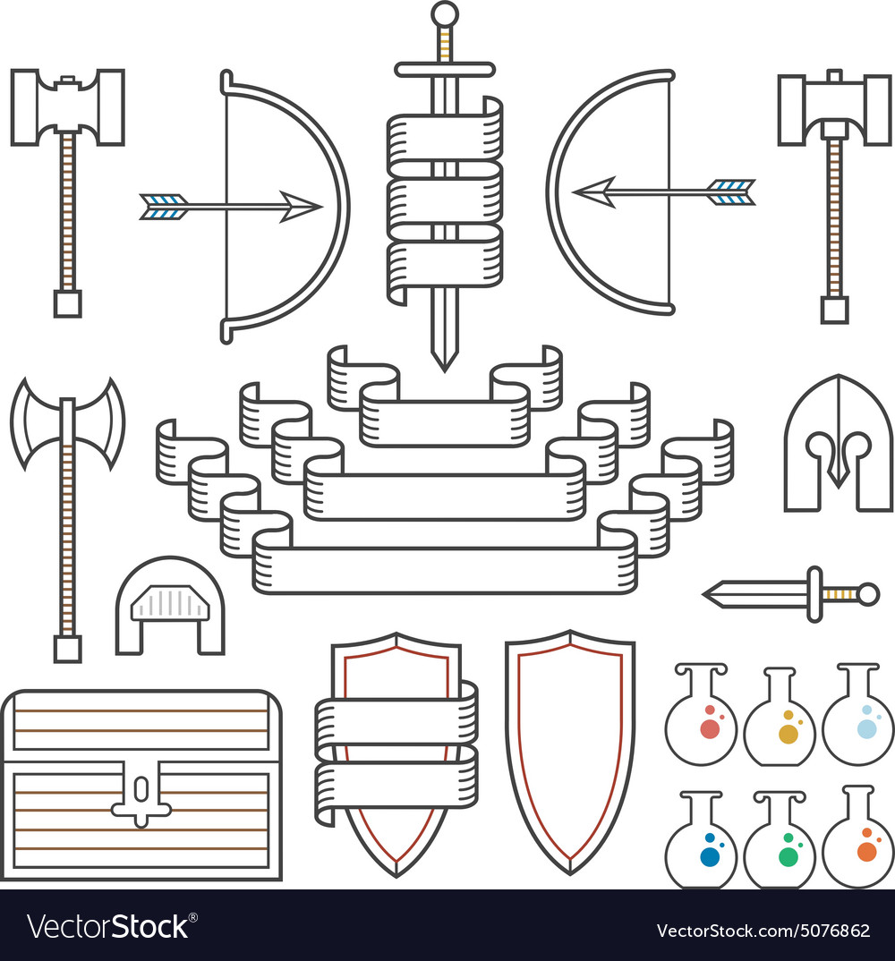 Medieval symbols and banners vector