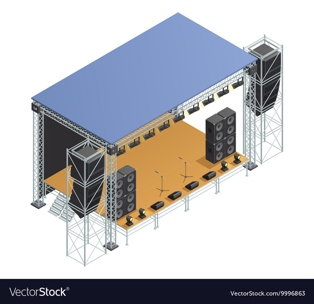Stage isometric poster vector