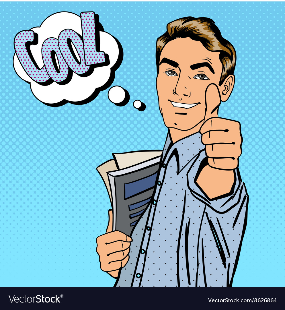 Happy student man gesturing great with books vector