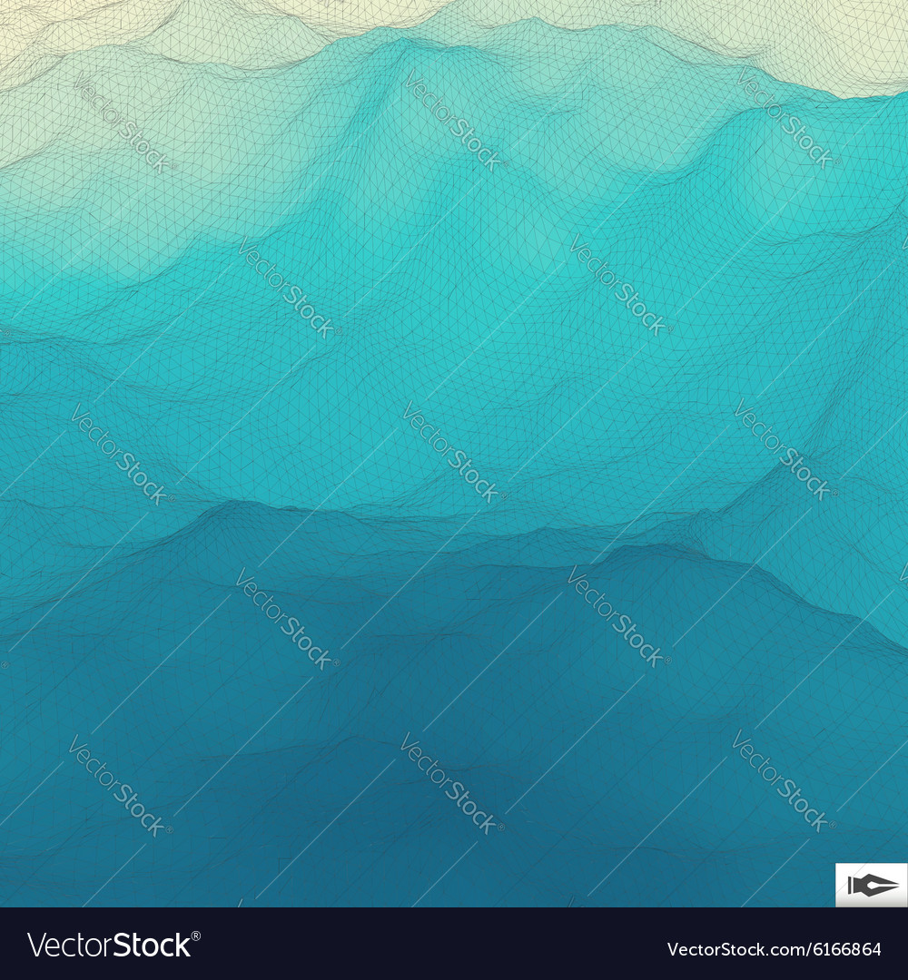 Water surface wavy grid background mosaic vector