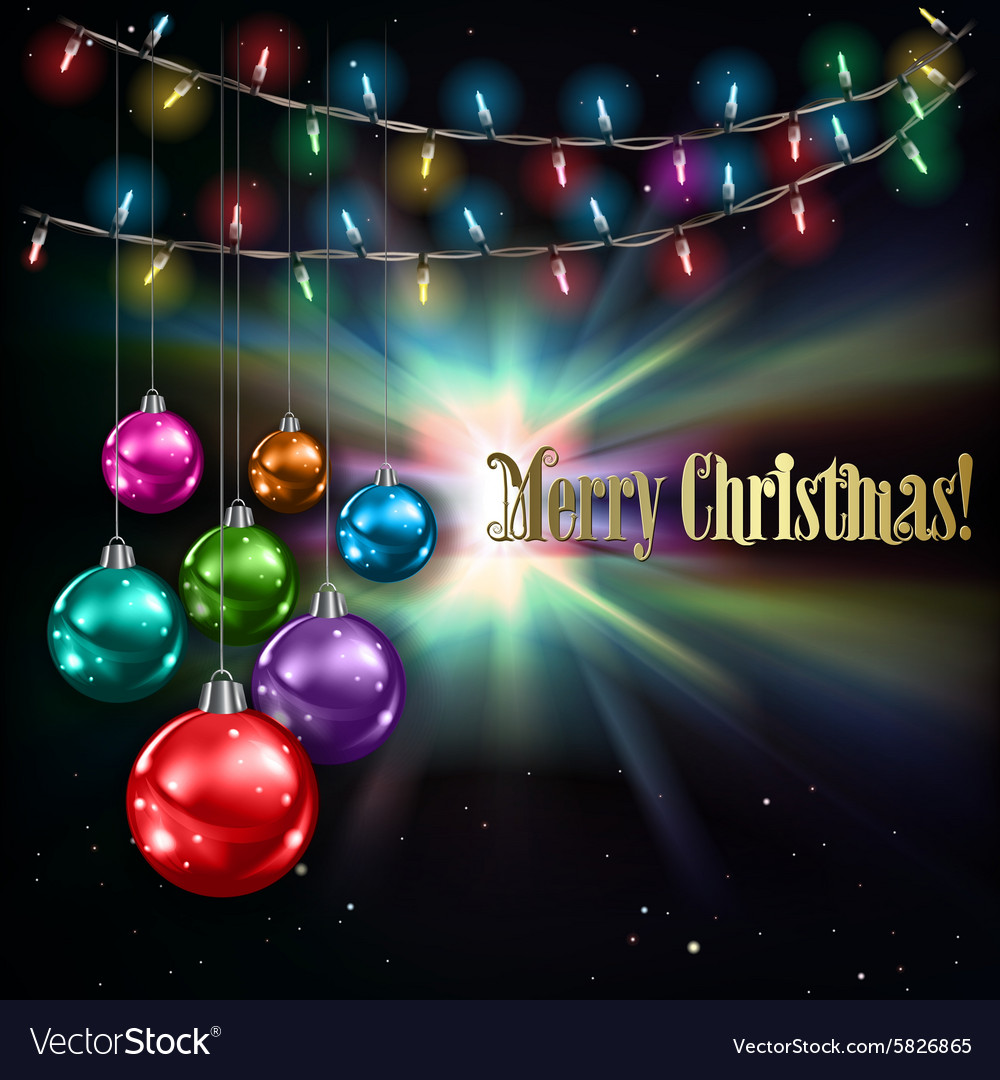 Abstract stars background with christmas lights vector
