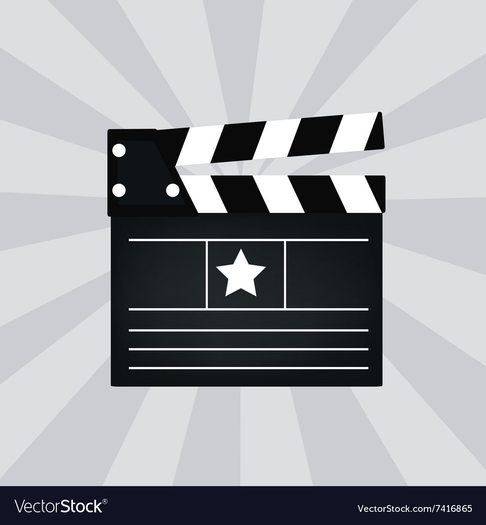 Black cinema clapper isolated vector