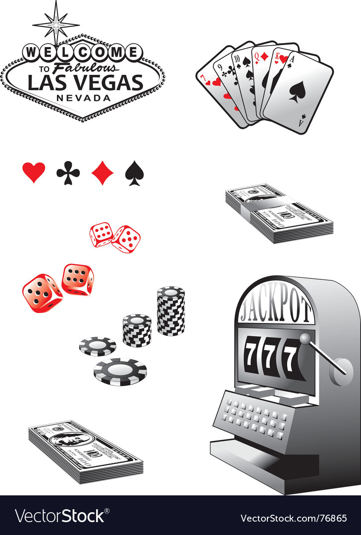 Casino elements set vector