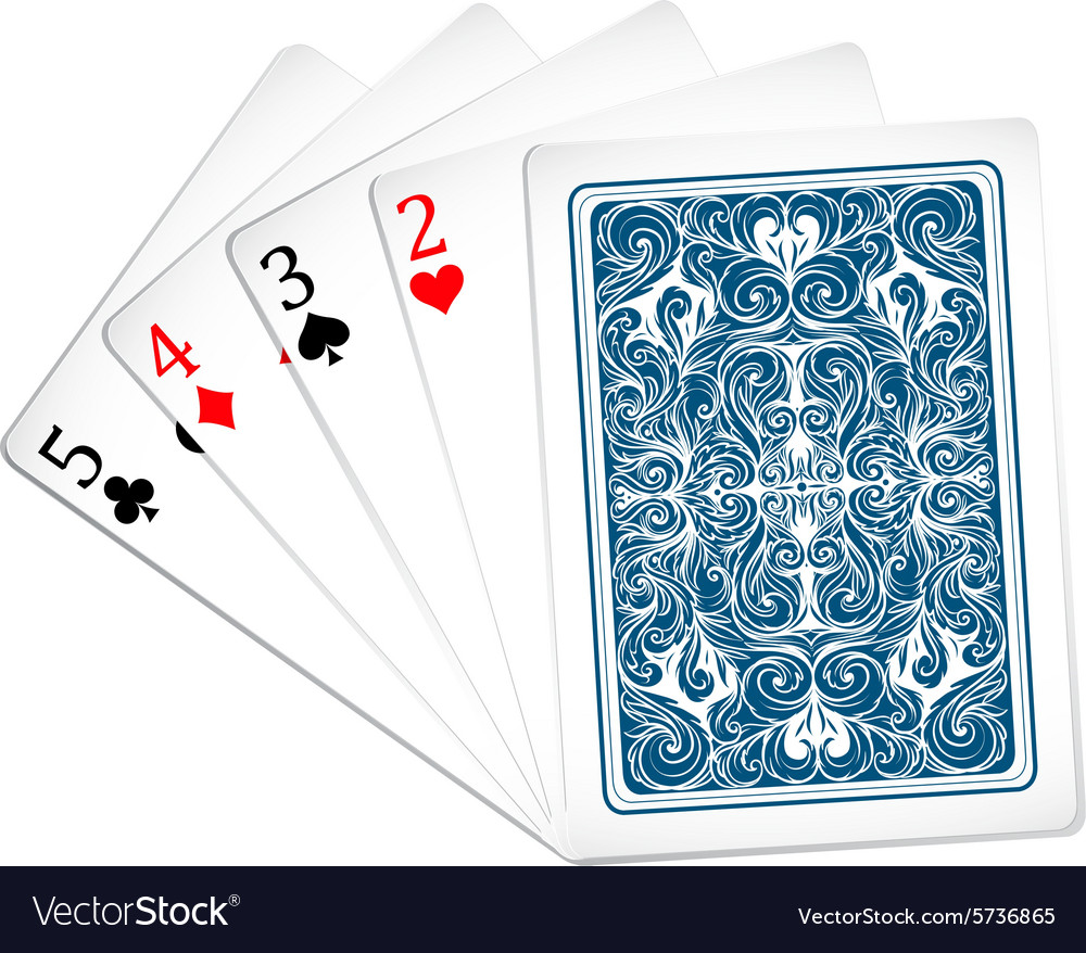 Five poker cards together vector