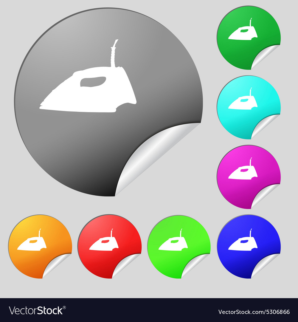 Iron icon sign set of eight multi colored round vector