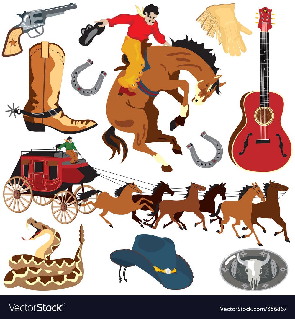 Wild west clipart icons vector