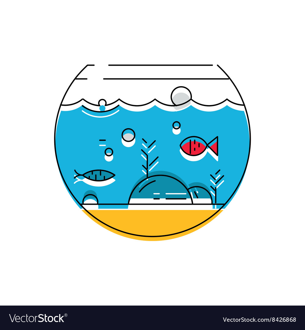 Aquarium icon colorful fish in the aquarium vector