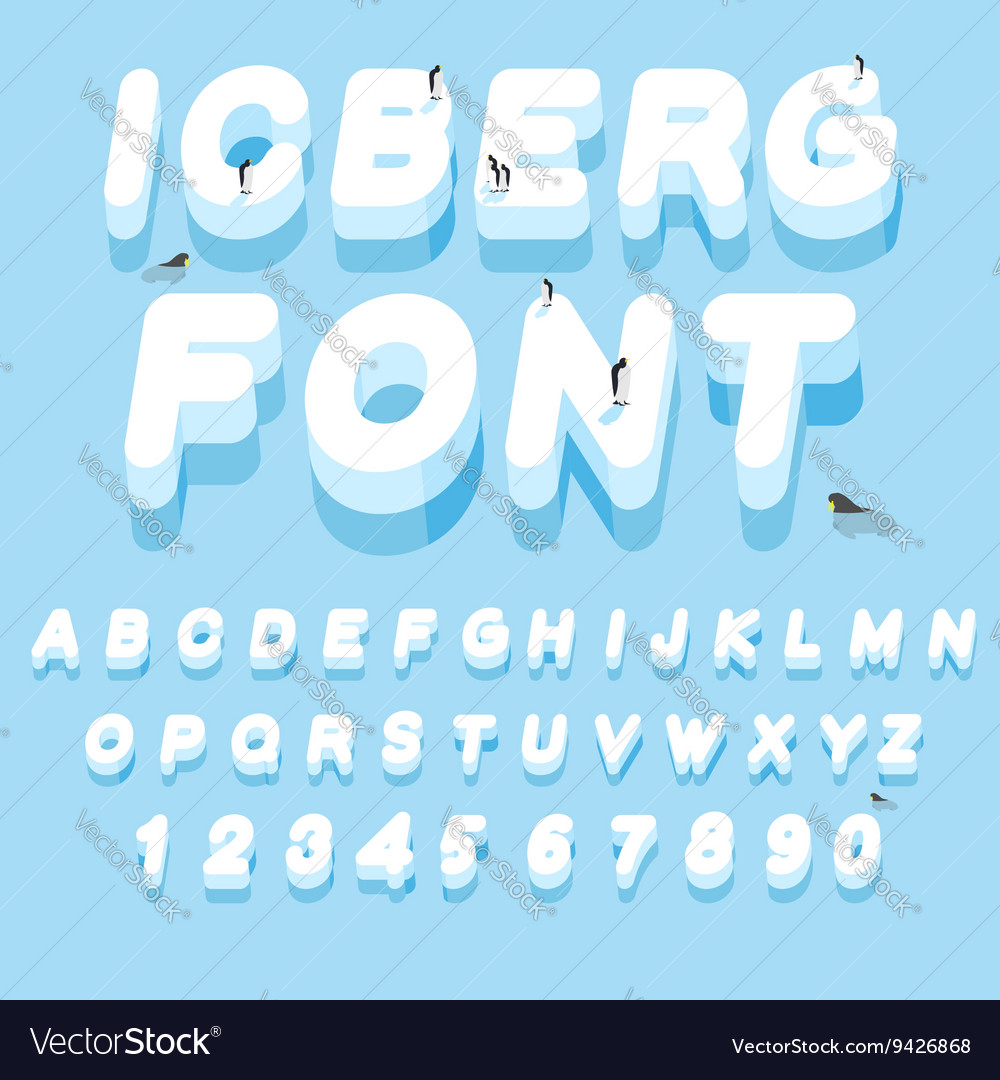 Iceberg font 3d letters of ice ice alphabet letter vector