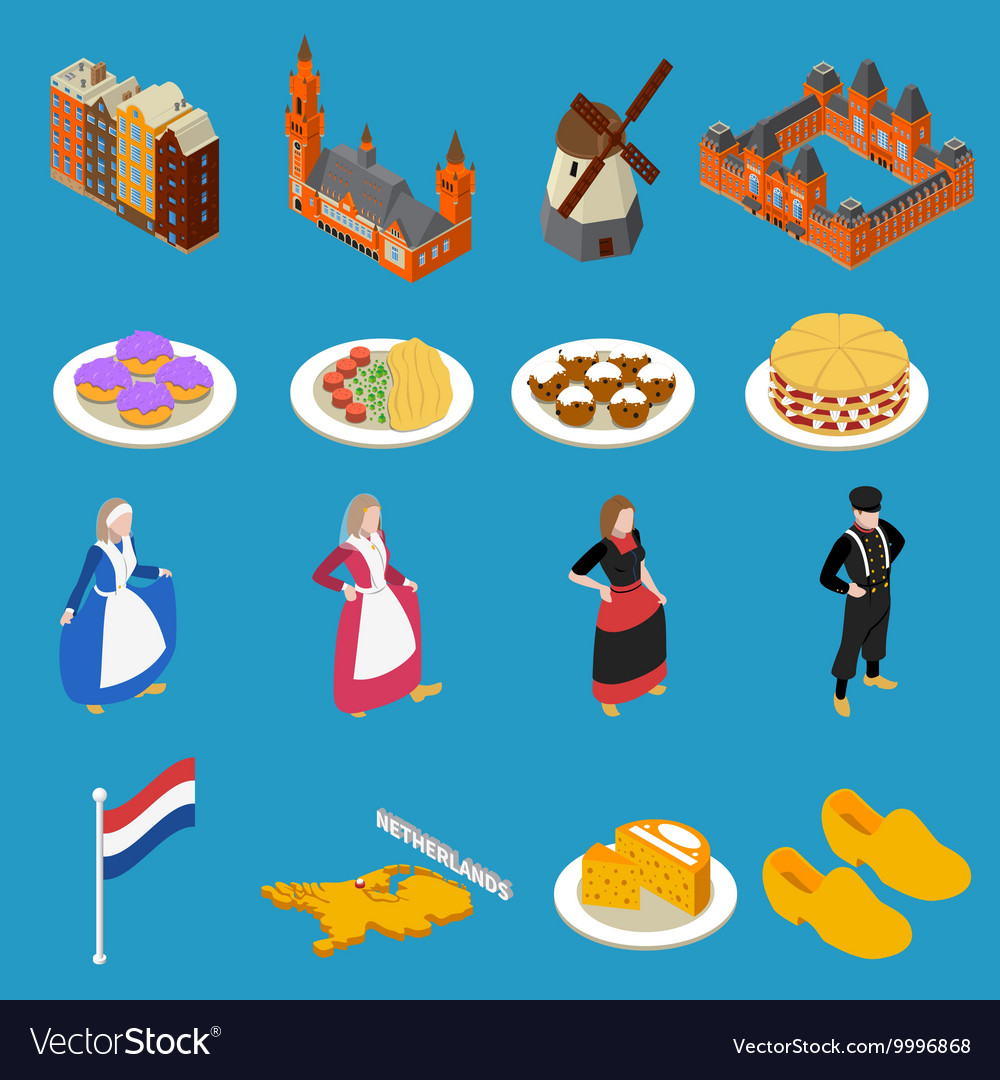 Netherlands tourist icons vector