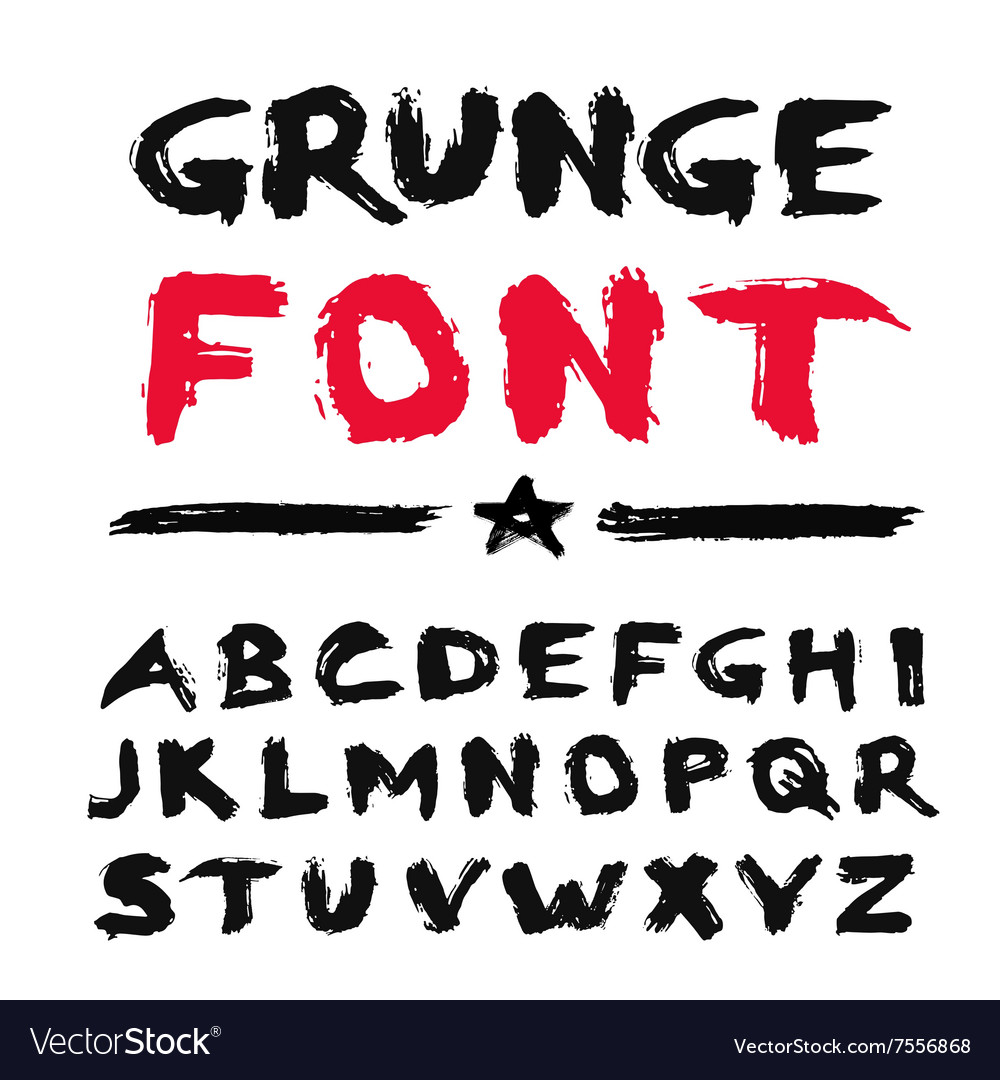Painted grunge font vector
