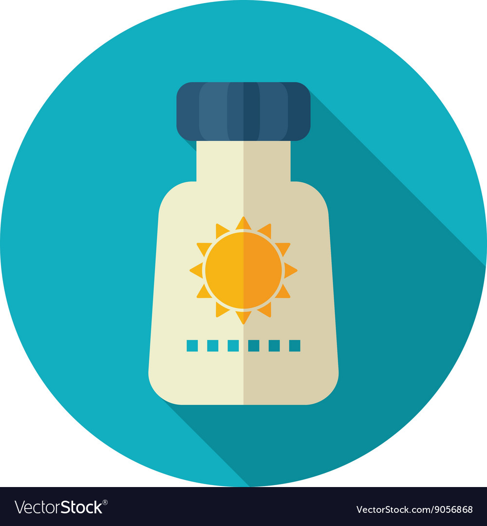 Sunscreen flat icon summer vacation vector