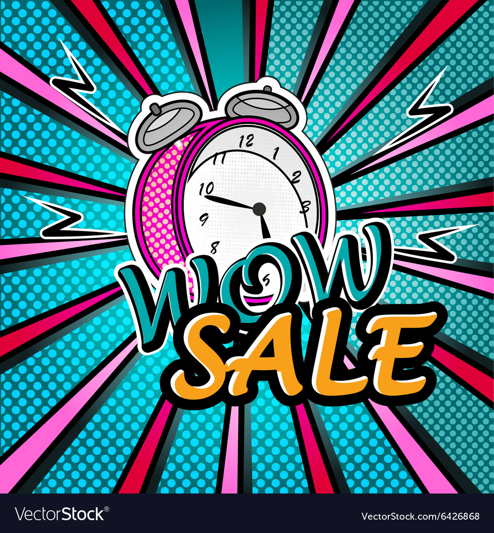Wow sale bright pop art explosion over dotted vector