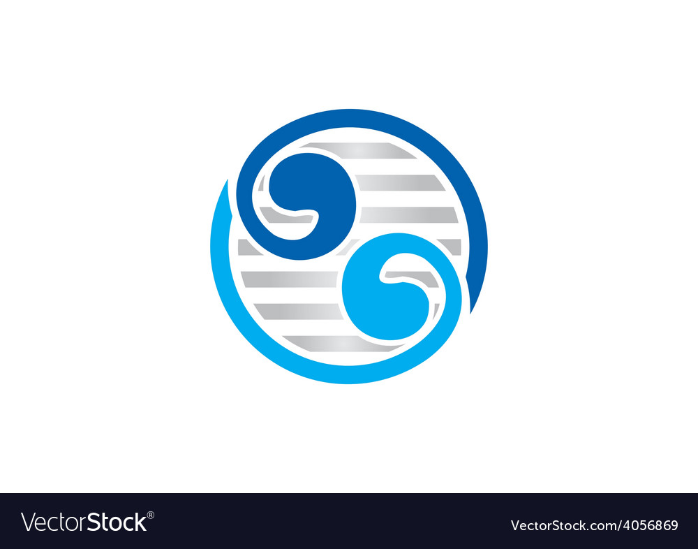 Circle yin yang abstract swirl logo vector