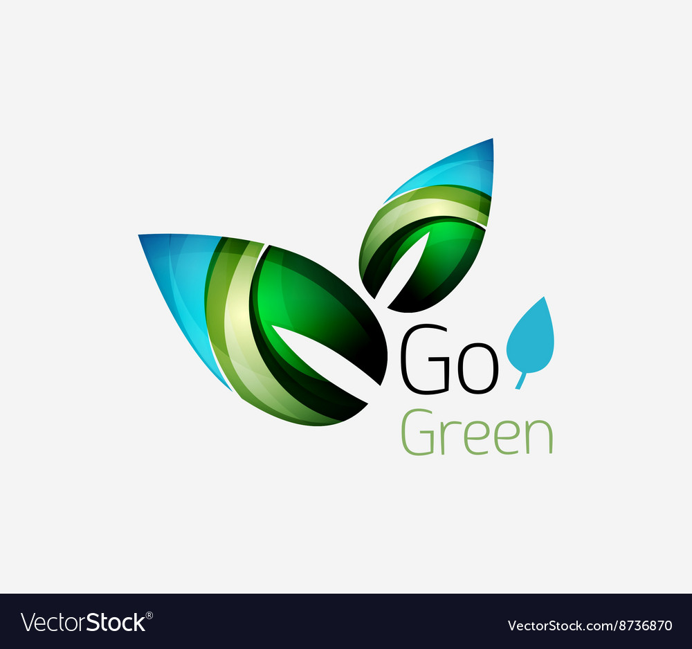 Abstract leaf icon eco nature geometric logo vector