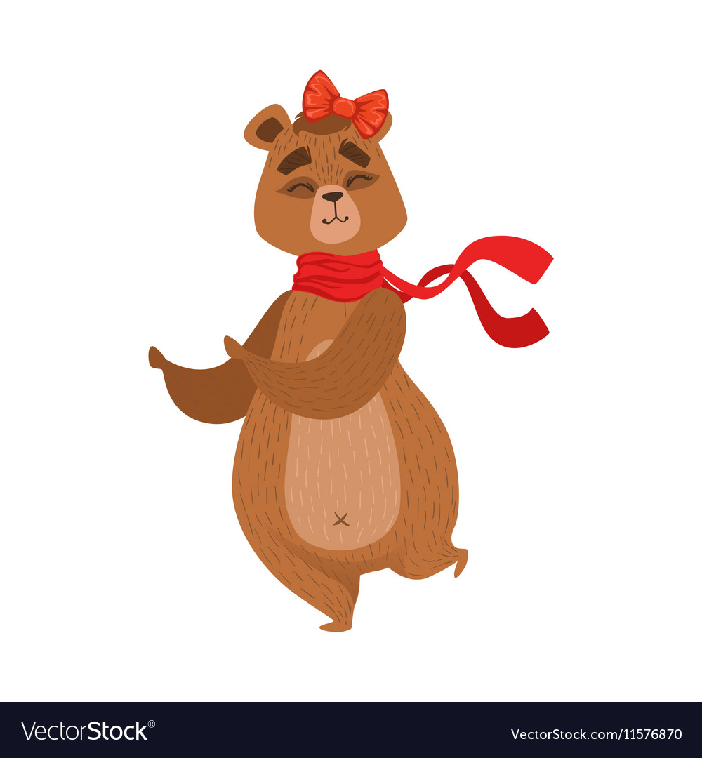 Girly cartoon brown bear character with the bow vector