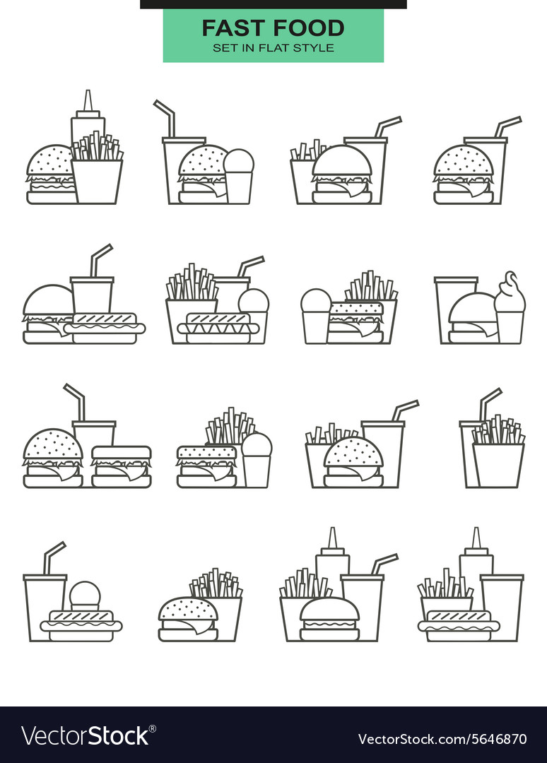 Sets burgers drinks potato fries and icecream in vector