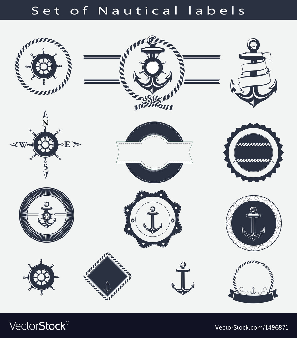 Set of nautical labels vector