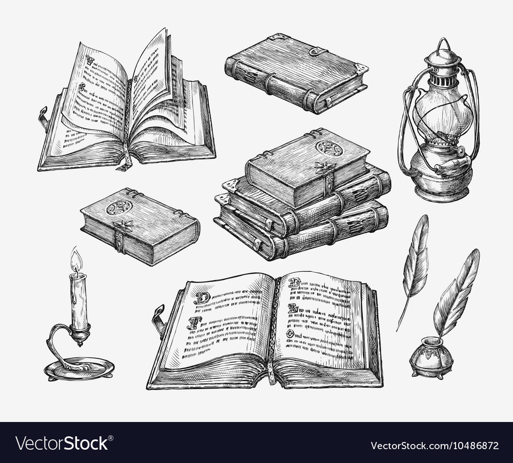 Handdrawn vintage books sketch old school vector