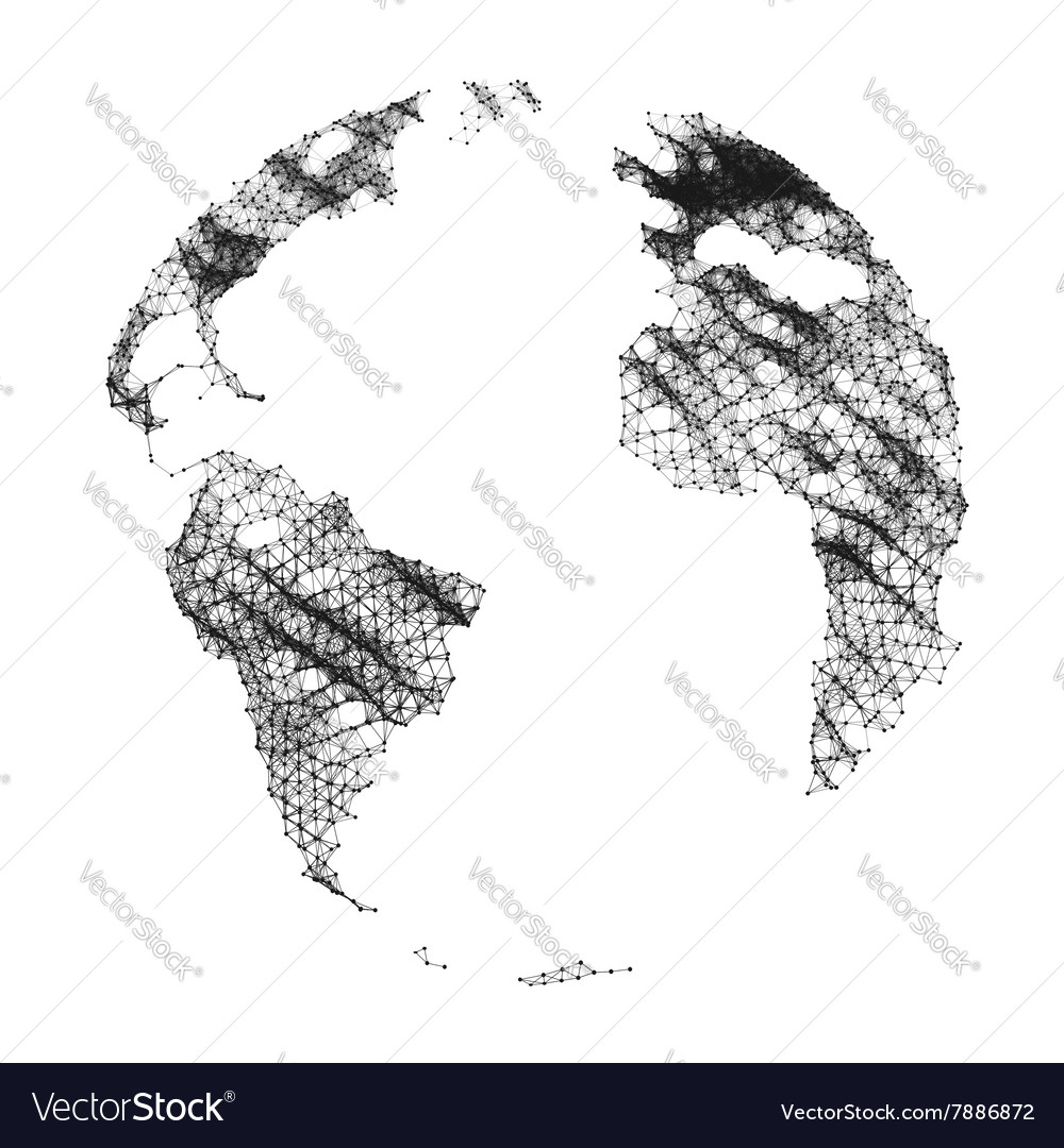 Map of the world global network mesh vector