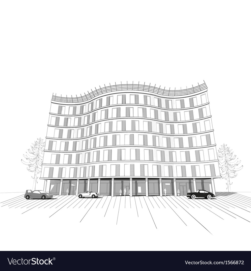 Modern apartment or office multistory building vector