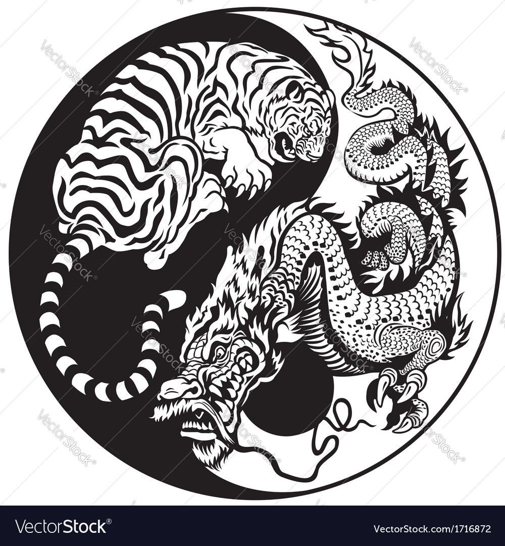 Yin yang dragon and tiger black white vector