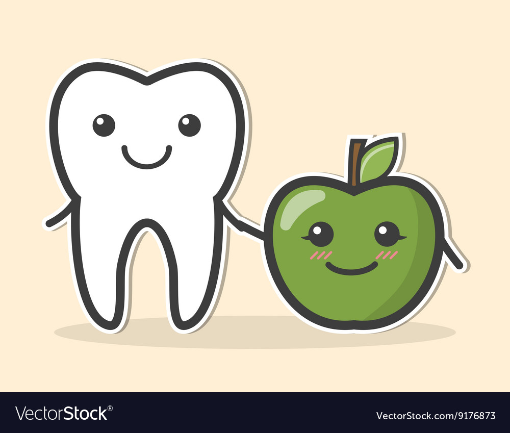 Healthy tooth and apple vector