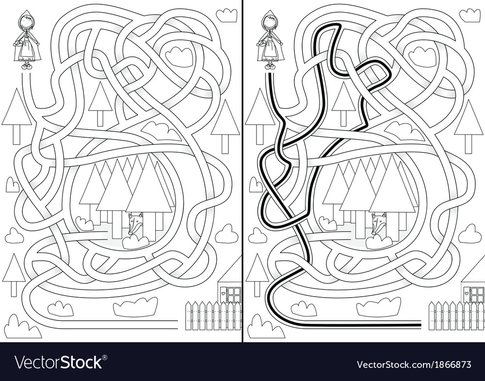 Little red riding hood maze vector