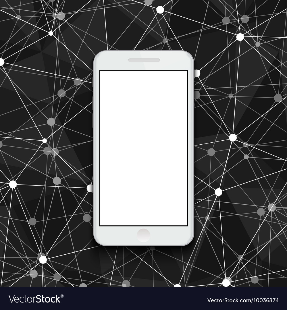 Modern smartphone on polygonal background vector
