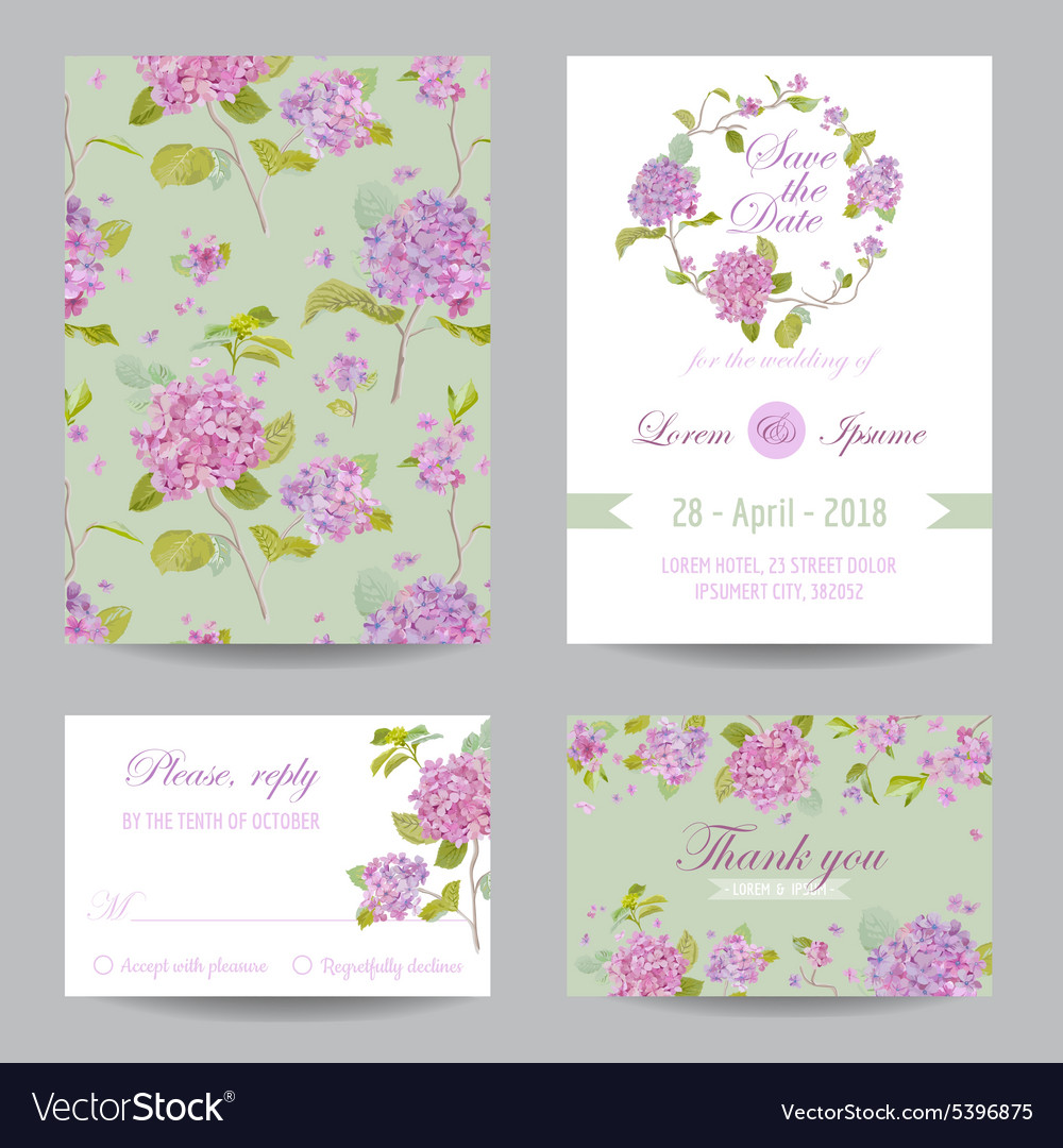 Invitation or greeting card set  for wedding vector