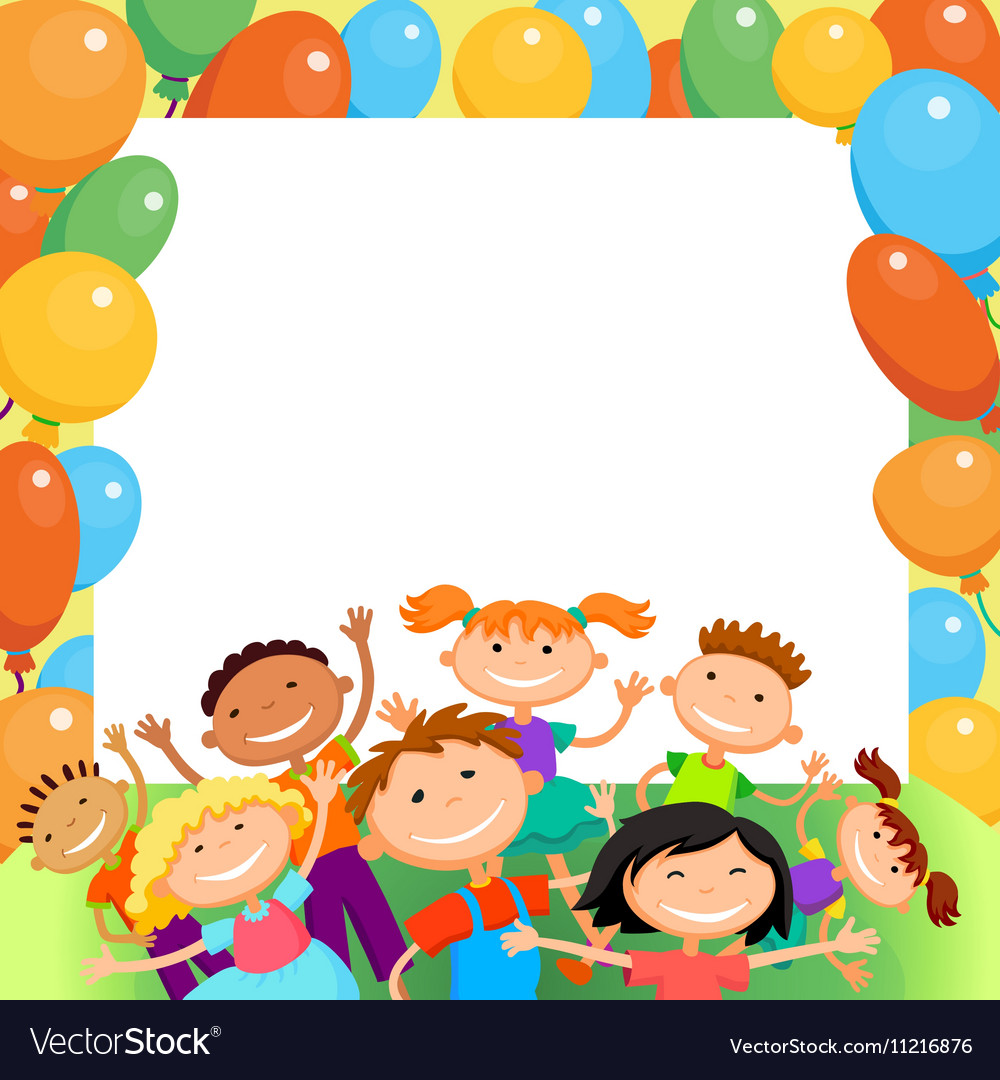Children are jumping ob summer background bunner vector