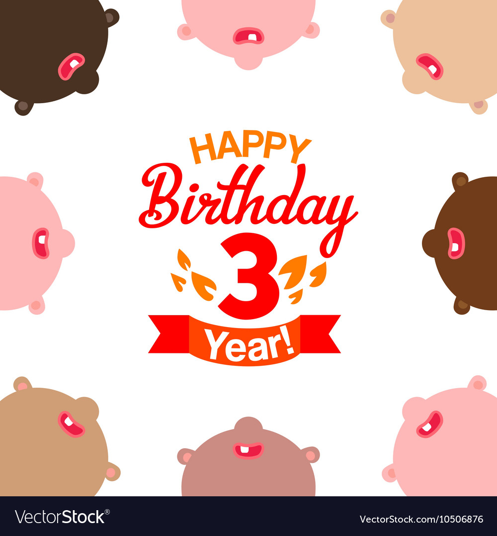 Children celebrating third year birthday vector