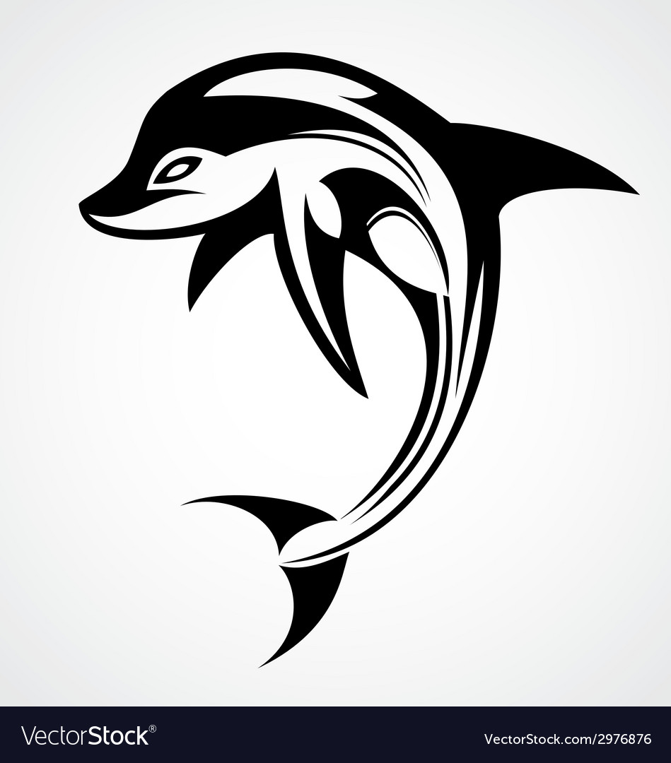 Dolphin tattoo design vector