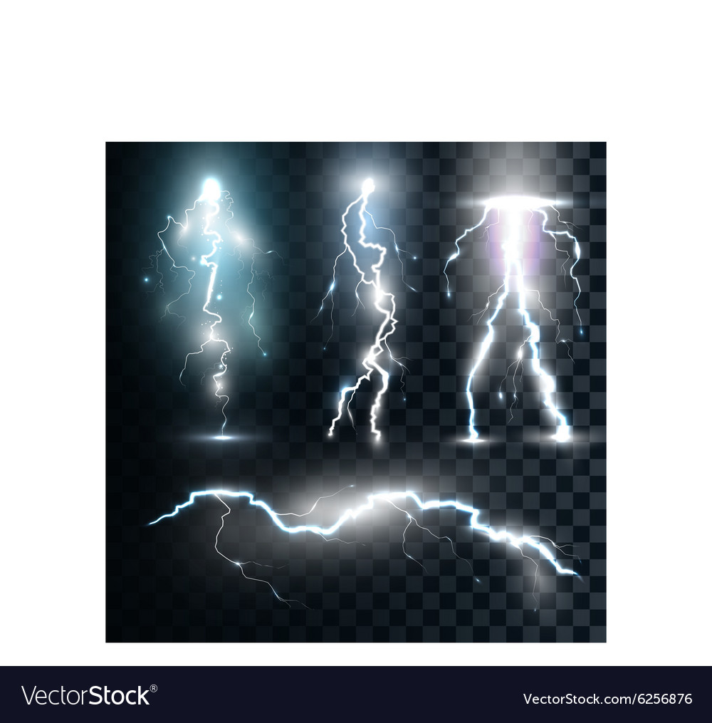 Set isolated realistic lightnings with vector