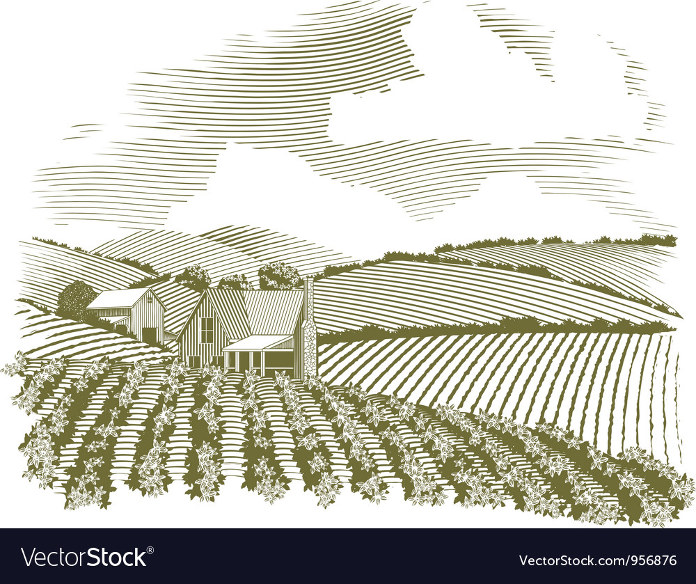 Woodcut rural farm house vector