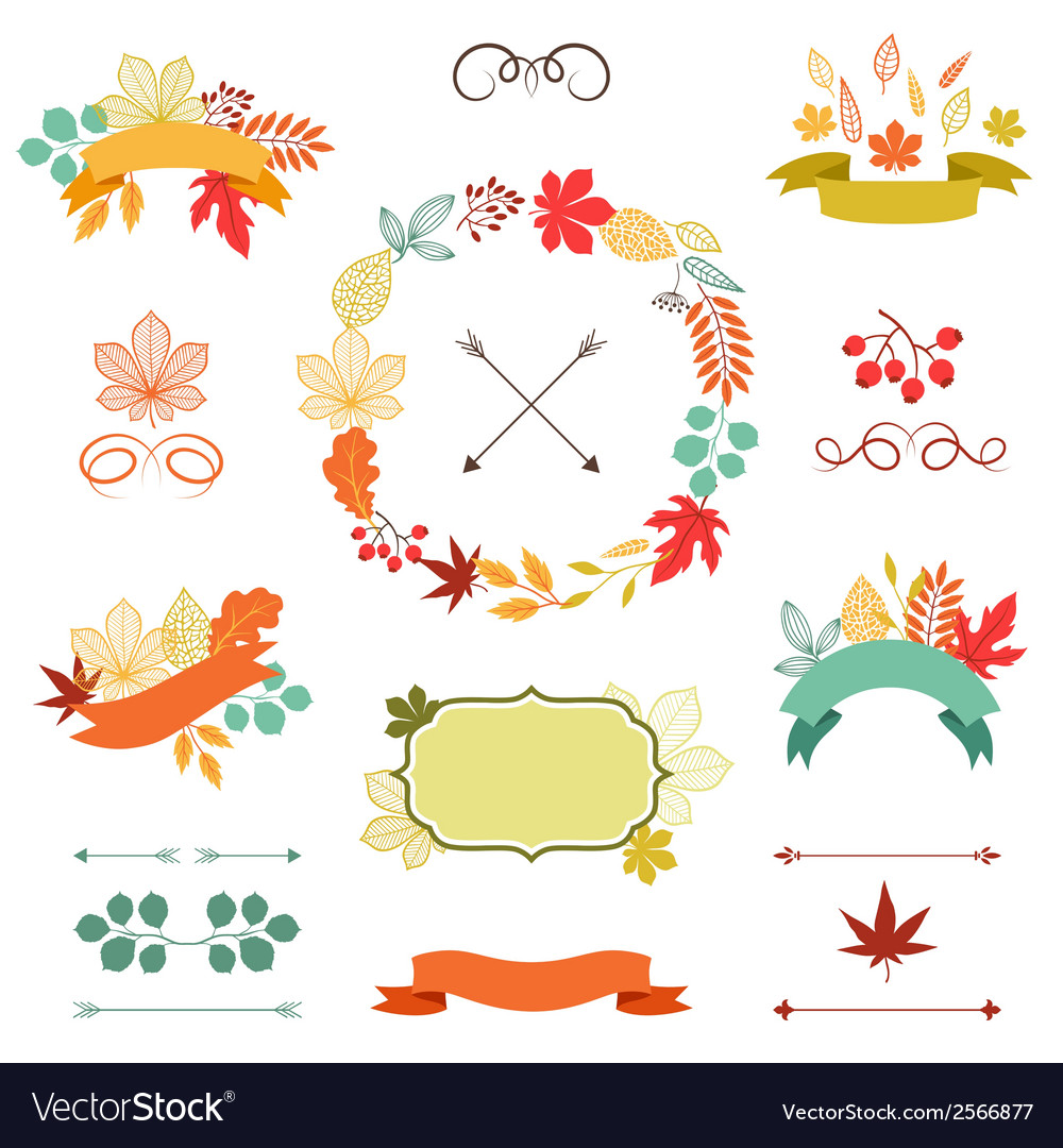 Autumn leaves set of wreath ribbons and labels vector