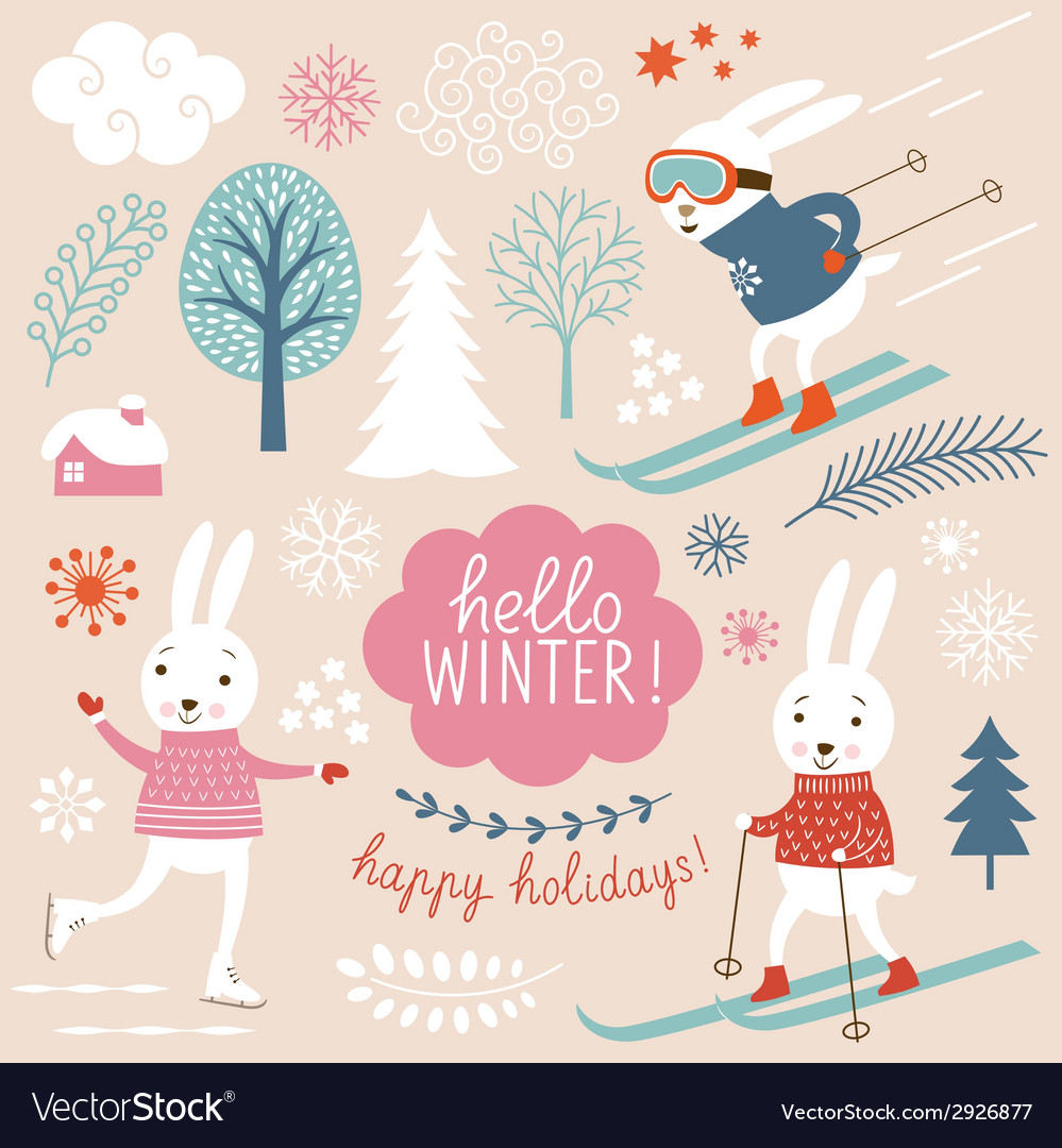 Cute rabbits and winter grachic elements vector