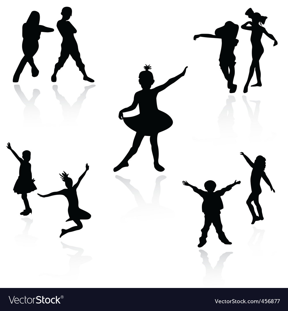 Dancing kids vector