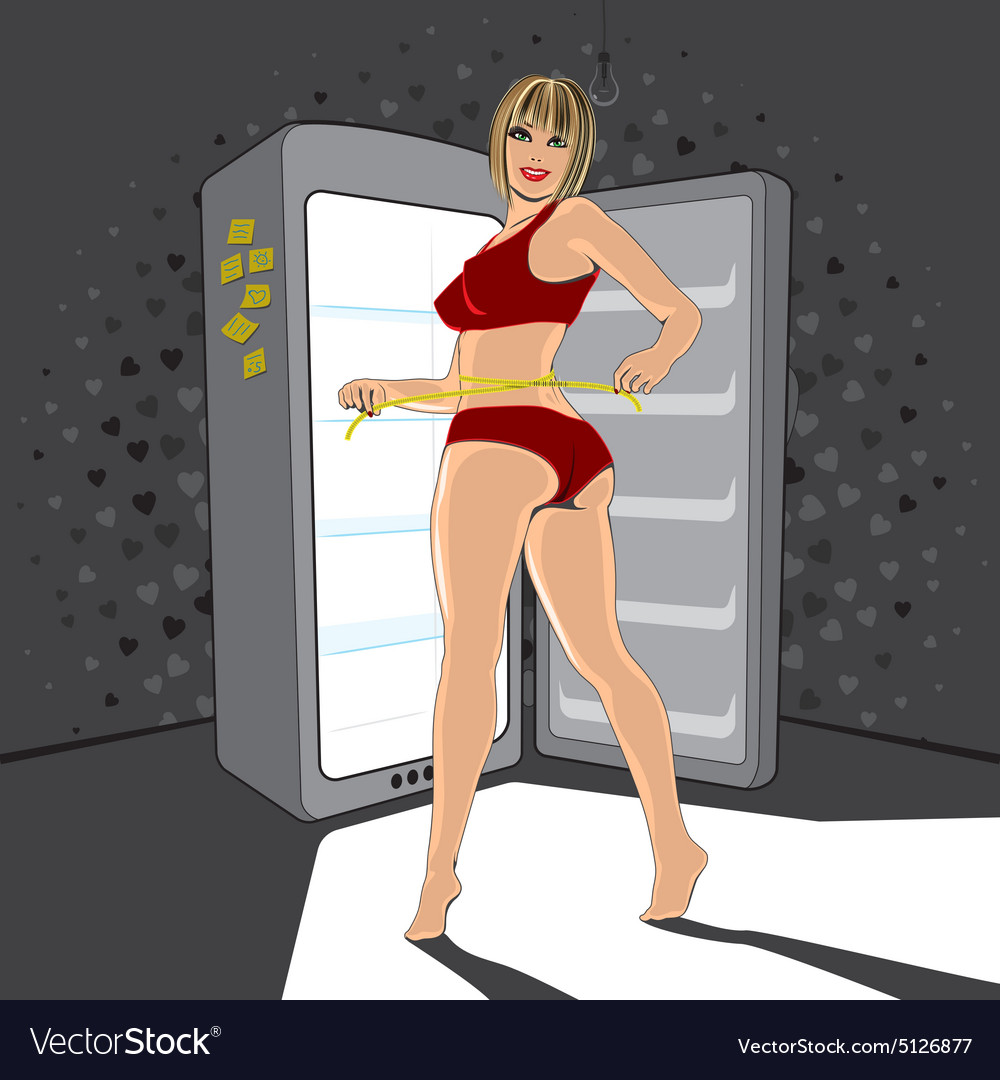Woman near by fridge at night vector