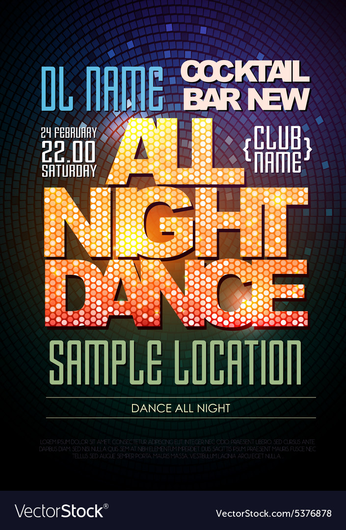 Disco poster dance all night vector