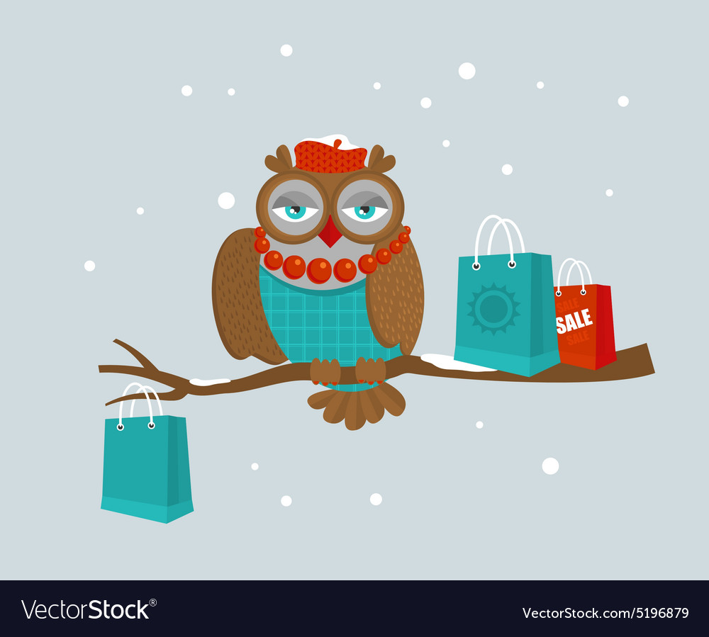 Portrait of fashionable owl on great winter sale vector