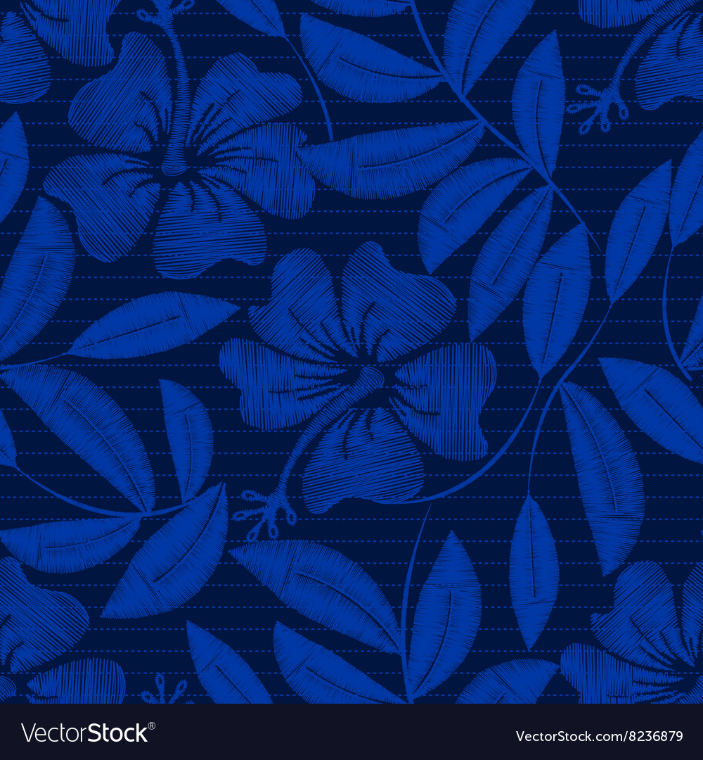 Tropical navy embroidery hibiscus and pin stripes vector
