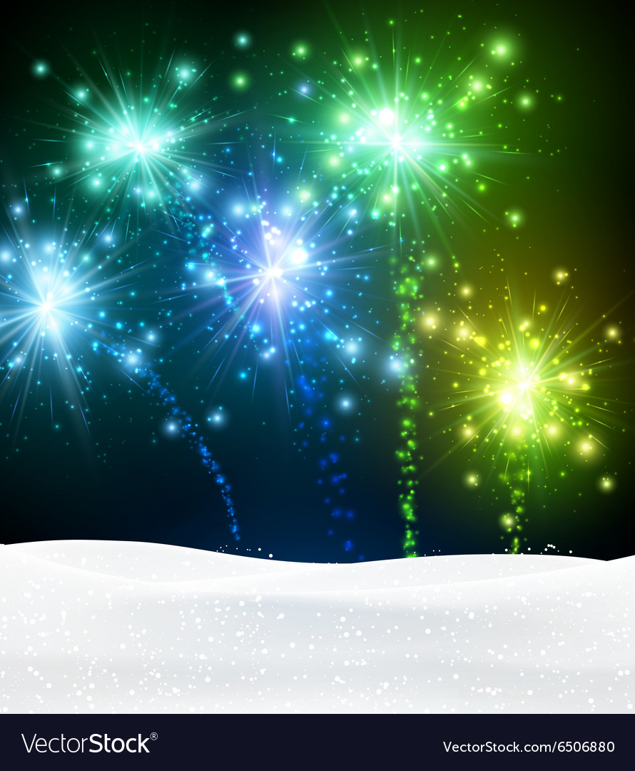 Festive xmas firework background vector
