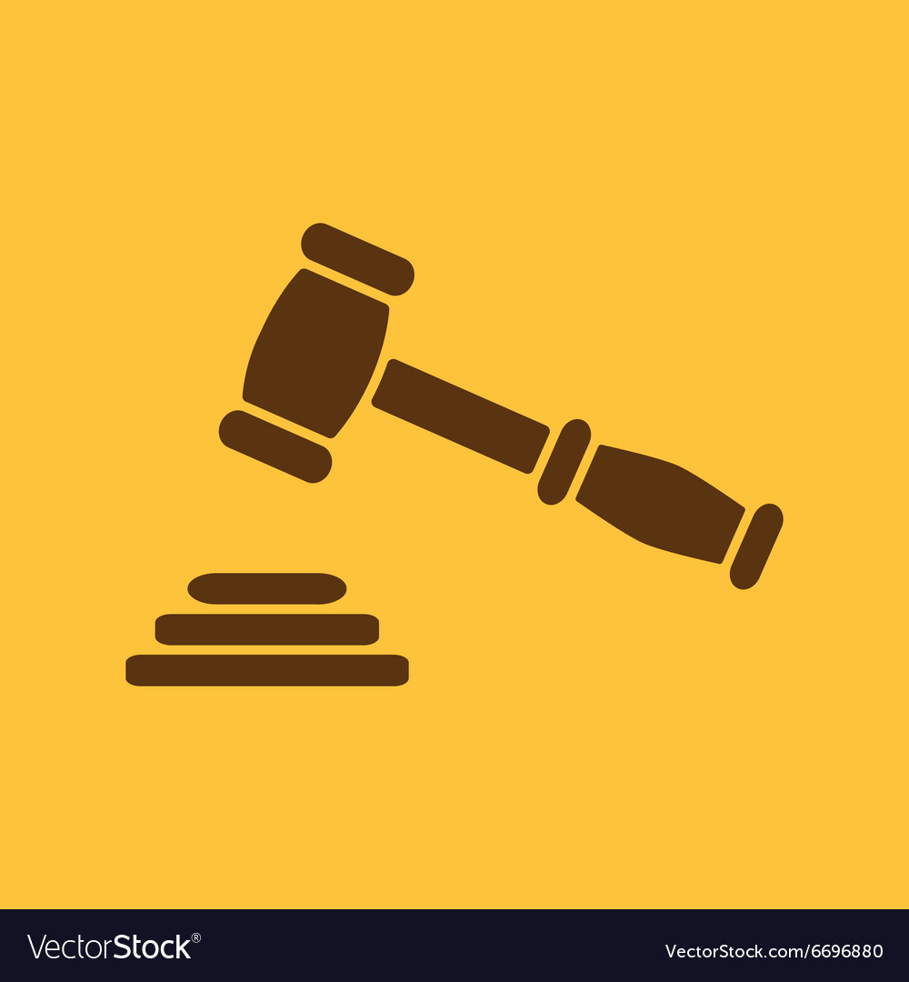 Judge or auction hammer icon justice symbol vector